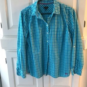 Talbots blouse in turquoise plaid
